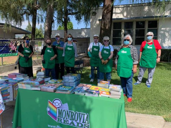 Monrovia Reads Volunteers at the CELC Book Distribution May 29 2020