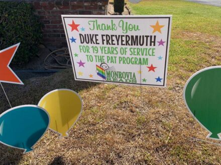 A thank you sign to Duke for his service