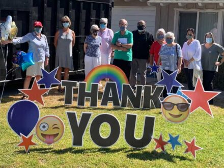 Monrovia Reads big Thank You sign to Duke